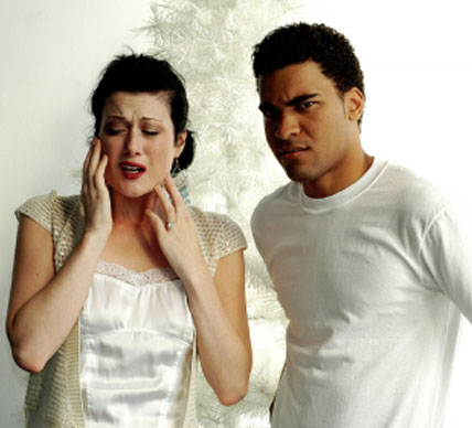 distraught woman with angry man
